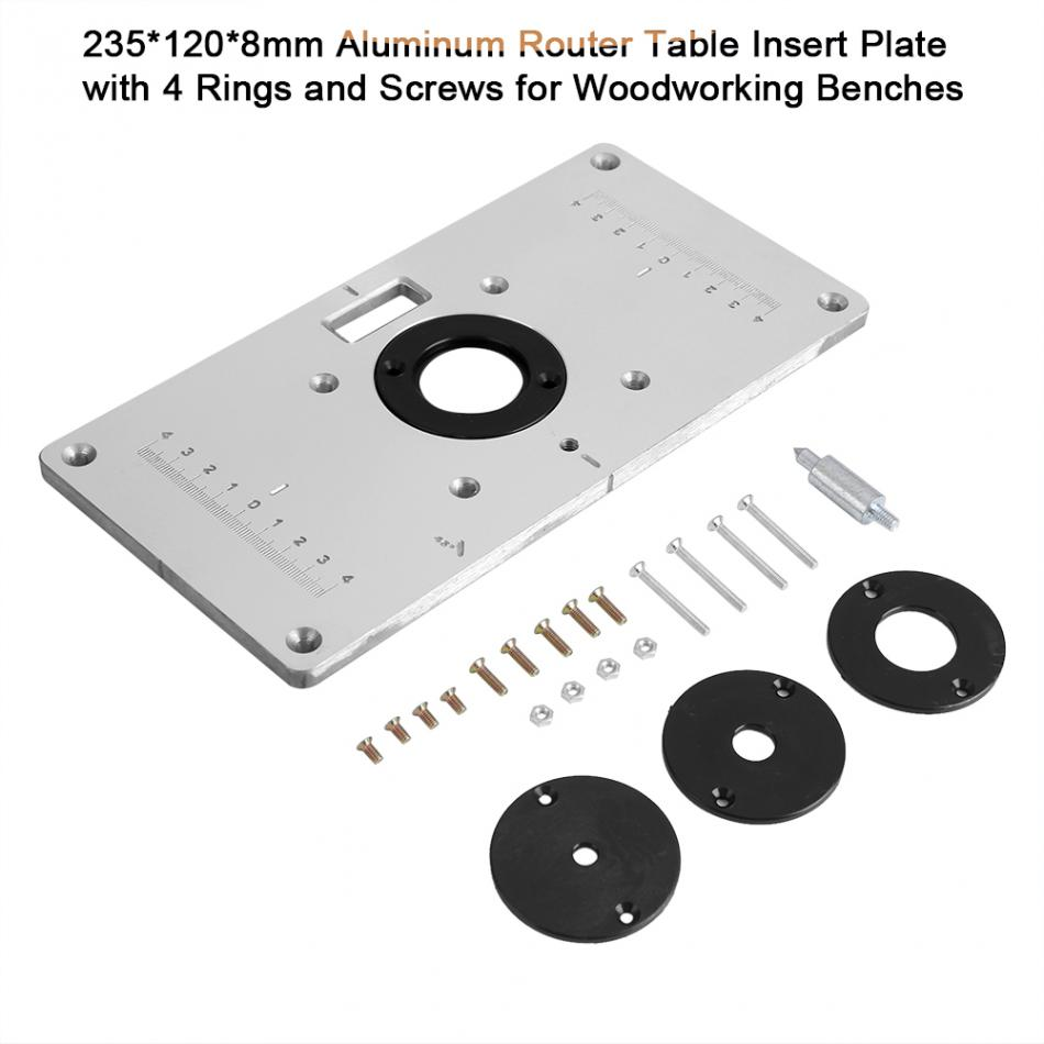 1pcs woodworking trim bench plate aluminum router table insert plate 1pcs woodworking trim bench plate aluminum router table insert plate with 4 rings and screws for woodworking benches 2351208mm in wood routers from tools greentooth Gallery