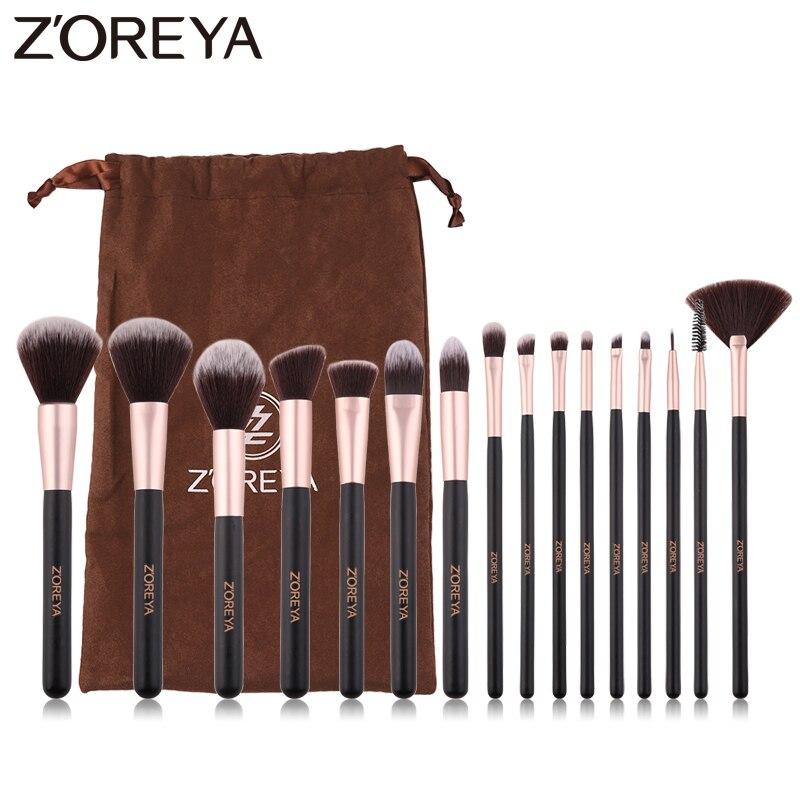ZOREYA 16 piezas pinceles maquillaje profesional sintético suave clásico mango de madera maquillaje cepillo polvo Blusher cosméticos herramientas