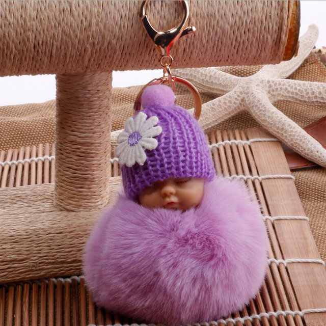 Fofo Bola Pompom De Pele de Coelho Saco de Dormir Baby Doll Mulheres Chaveiro Carro Acessórios Chave Anel Titular Jóias Charme Pingente