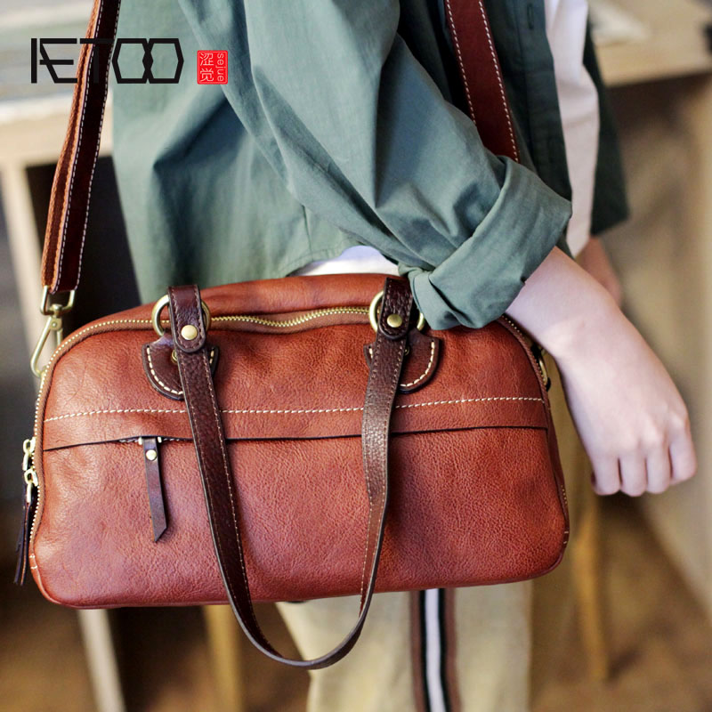 AETOO New Boston bag pillow bag leather suede leather portable bag soft leather casual shoulder Messenger bagAETOO New Boston bag pillow bag leather suede leather portable bag soft leather casual shoulder Messenger bag