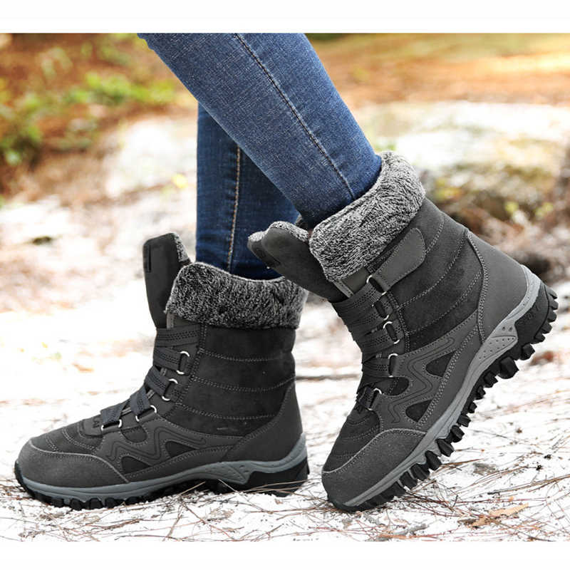 חדש 2019 נשים מגפי חורף נעלי פרווה עבה החוצה דלת שלג מגפי נשים חורף מגפי החלקה באיכות גבוהה מגפי גודל 35-42