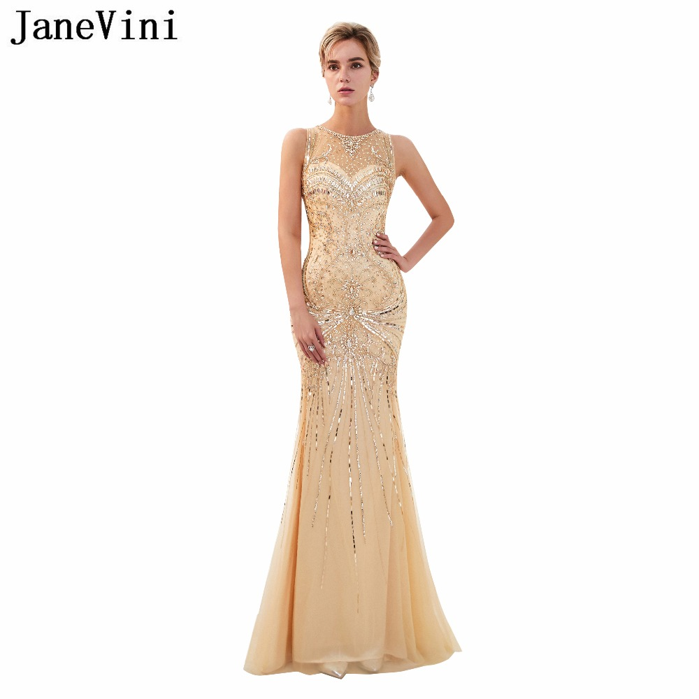 JaneVini Elegant Champagne Tulle Long Bridesmaid Dresses 2018 Luxury Crystal Beads Zipper Back Mermaid Formal Pageant Prom Gowns