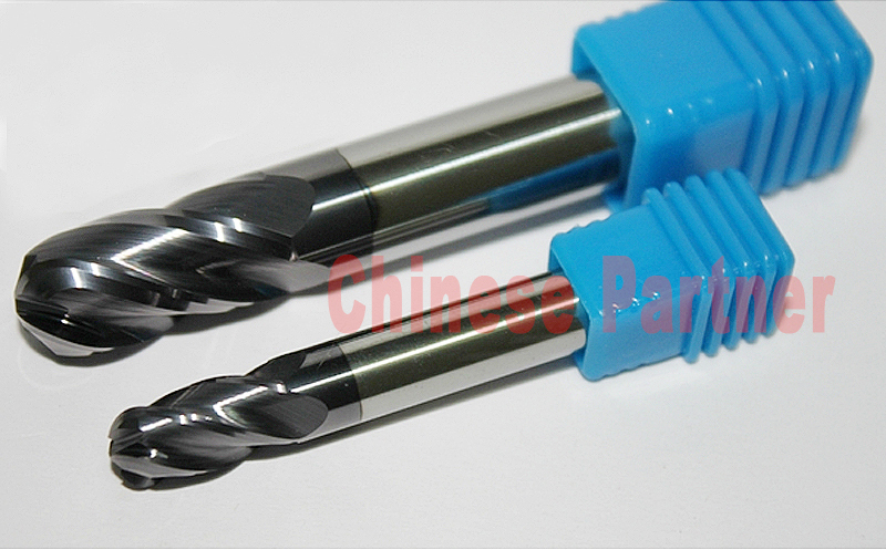 1pcs radius=5mm hrc60 R5*20*D10*100  4 Flutes Ball nose end mill lengthen Milling Tools CNC cutter Router bits