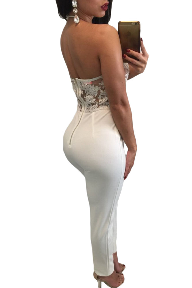 Women Party Bodycon Jumpsuit Black White Sheer Lace Top Halter Sexy Slim Club Romper Overalls for Women Combinaison Femme