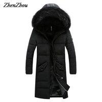 ZhenZhou M 4XL 2016 Black Gray High Quality Hooded Winter Casual Long Parka Men Slim Fit Winter Jacket Men Winter Coat Men