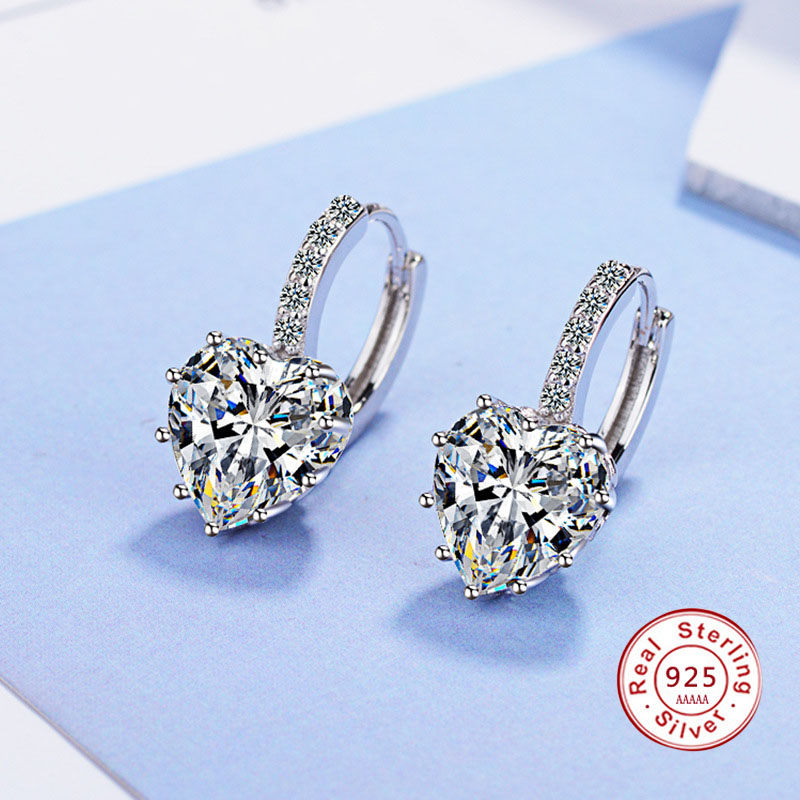 Cute Colorful Heart Real Pure 925 Stamp Sterling Silver Jewelry Cubic Zirconia Stone Earrings Fashion Women Favourites Earring