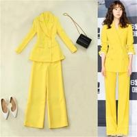 Women's Pant Suits 2018 spring and summer new yellow waist double breasted long section suit high waist wide leg pants suit