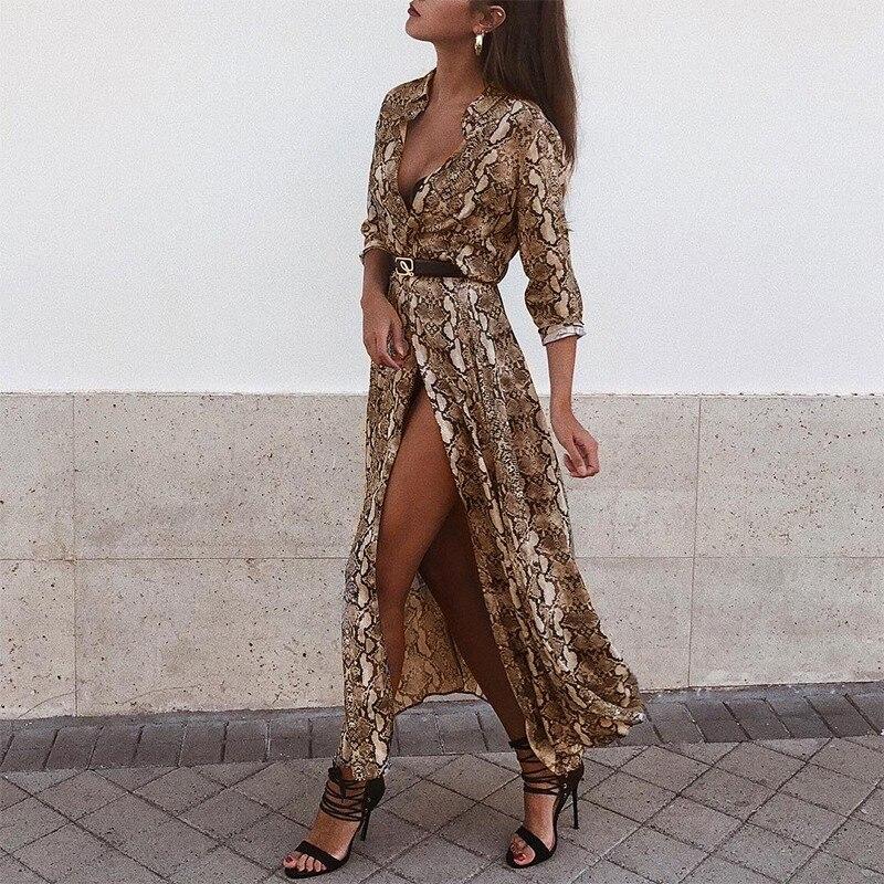 2018 Sexy V Neck Long Sleeve Snake Print Maxi Dress Women Autumn Winter Elegant Long Dresses Casual Party Dress Vestido
