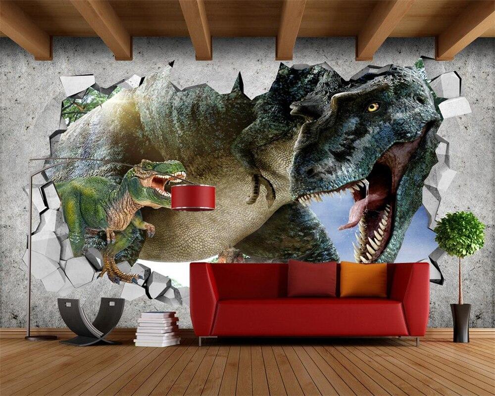 beibehang Custom Wallpaper Brick Wall Lime Residual Dinosaur 3D TV Backdrop Wall Decorative Background Mural photo 3d wallpaper kosta boda brick lime подсвечник d 85mm