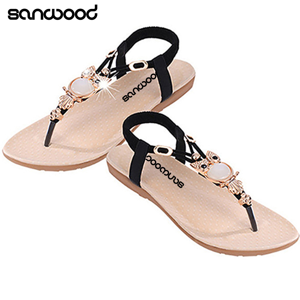 6429adc9a 2016 New Arrival Women s Fashion Summer Roman Style Rhinestone Flat Flip  Flops Sandals Shoes