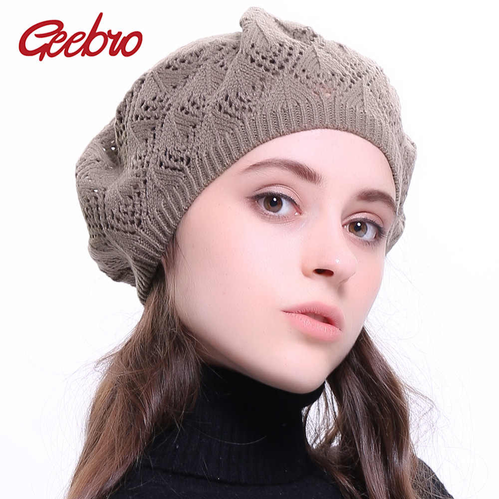 Geebro Women's Plain Color Knitted Breathable Beret Hat Casual Thin Acrylic Berets for Ladies French Artist Beret Hats