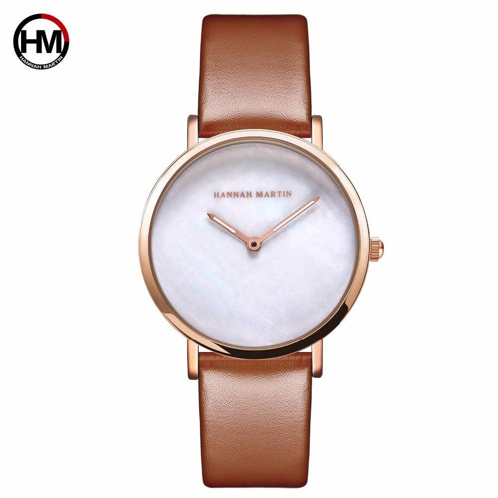 HM Coque Motif Cadran Étanche Femmes Montre En Cuir Simple Style Dames montres-bracelets Horloge pour Femmes Relogio Feminino