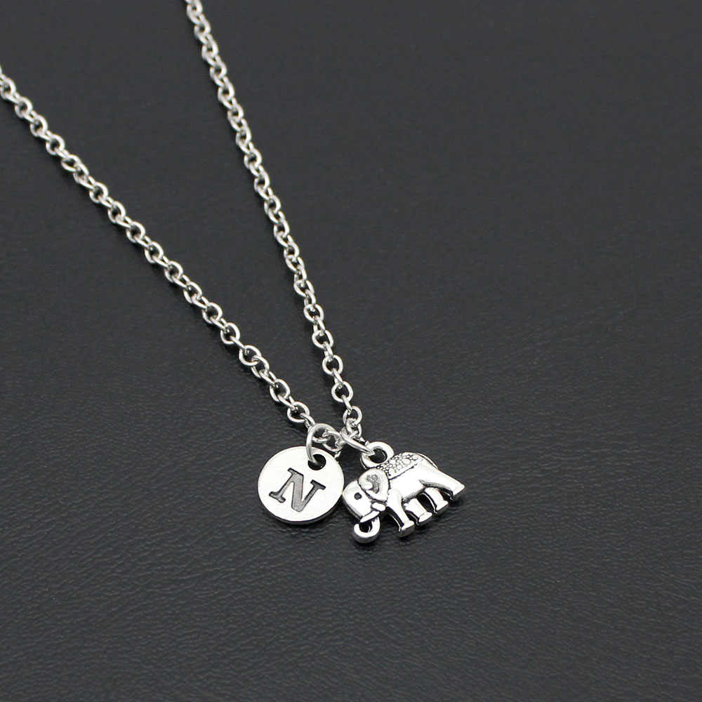 Fashion Simple Elephant Necklace Alphabet Letter Women Chain Necklace Friendship Gifts With Card