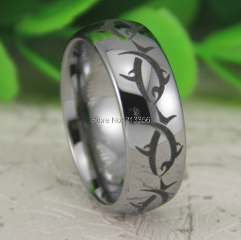 Price Free Shipping Usa Canada Hot Ing 8mm Silver Dome Maori Whale Tribal Fish New Men S Fashion Tungsten Wedding Ring In Bands From