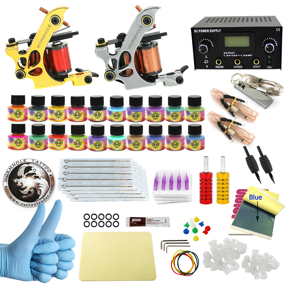 WORMHOLE TATTOO Complete Starter Tattoo Kit 2 Machine Gun 20 Color Inks Dual double Power Supply CD004 x smart science promiscuity avenue to venereal diseases