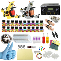 WORMHOLE TATTOO Complete Starter Tattoo Kit 2 Machine Gun 20 Color Inks Dual Double Power Supply
