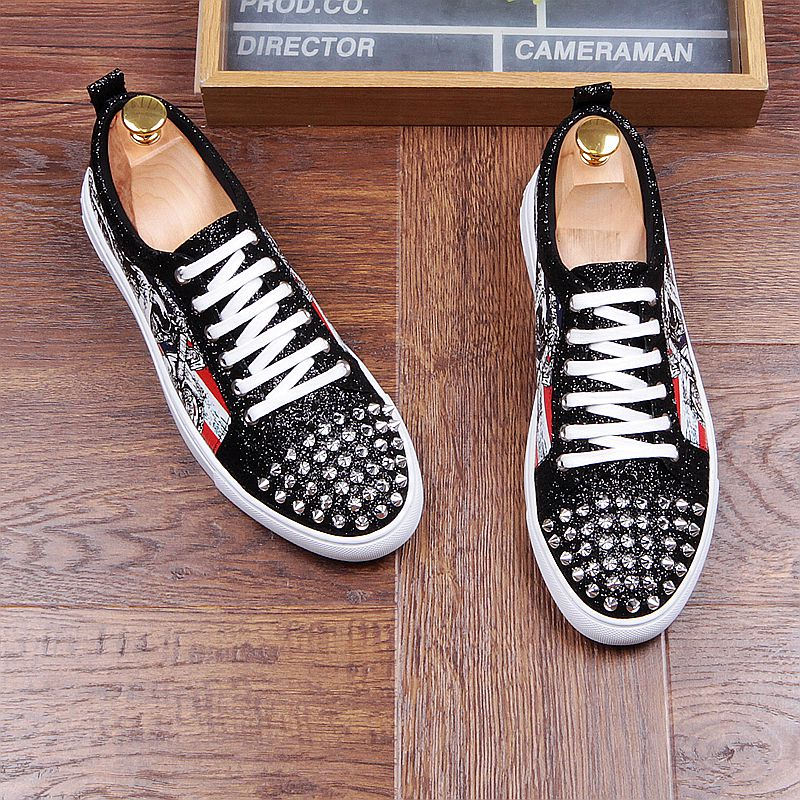 Fashion Men's Sneakers Studded Rivets Casual Black Round Toe Shoes Man Heavy Bottom Lace Up Male Flats Zapatos Hombre-in Men's Casual Shoes from Shoes on Aliexpress.com | Alibaba Group 35