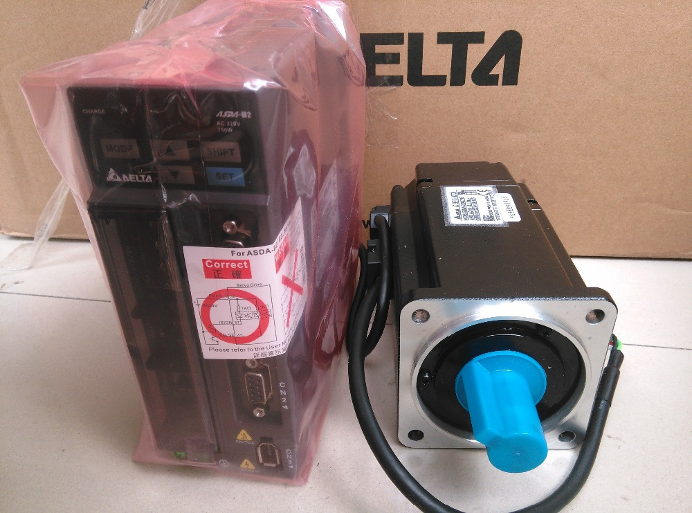 80mm 220 V 750 W 2.39NM 3000 RPM 17bit ASD-B2-0721-B + ECMA-C20807RS Delta AC servo motor y kit de accionamiento Y 3 m cable