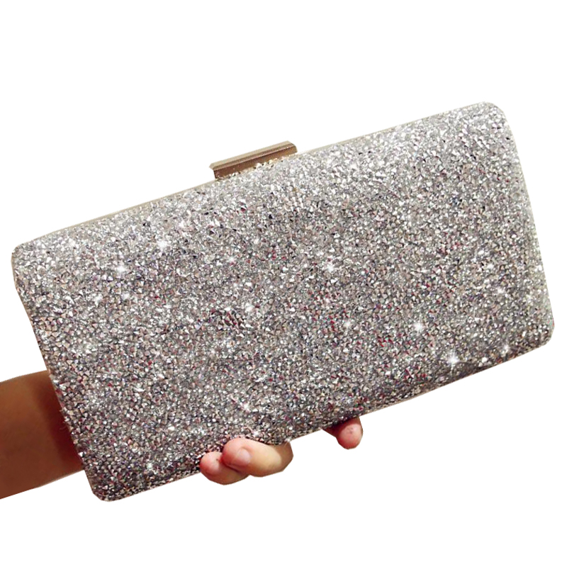 Woman Evening Bag Luxury Diamond Rhinestone Clutch Crystal Day Clutch Wallet Wedding Purse Party Banquet Black/Gold /Silver woman evening bag for cocktail gold diamond rhinestone clutch bag crystal day clutch wallet wedding purse party banquet bag