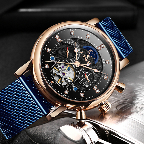 LIGE 2019 business watch men Automatic Luminous clock men Tourbillon waterproof Mechanical watch top brand relogio masculino Karachi