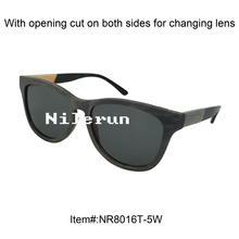 cool thin gray skateboard wood sunglasses with acetate temples
