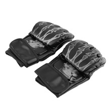 Skeleton Print Half Finger Boxing Gloves