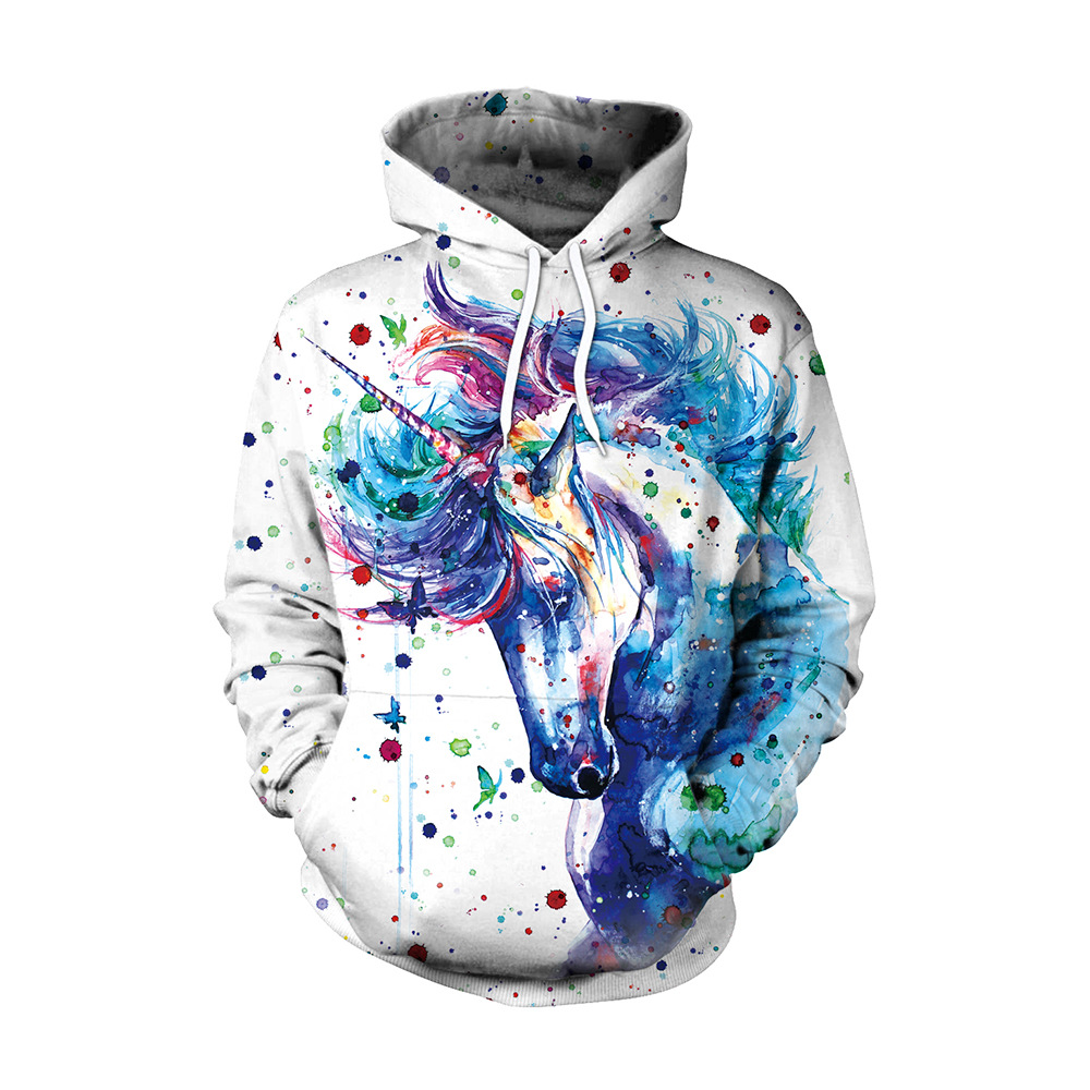 colorful sweatshirt qiaozhi 2017 fashion women sweatshirt unicorn 3d printed 7098