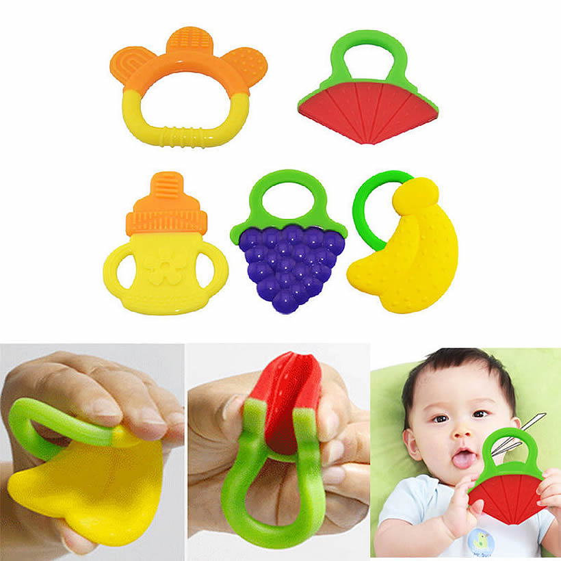 Baby Teether Fruit and Vegetable Shape Teether Silicone 2017 Brand New Baby Dental Care Toothbrush Training