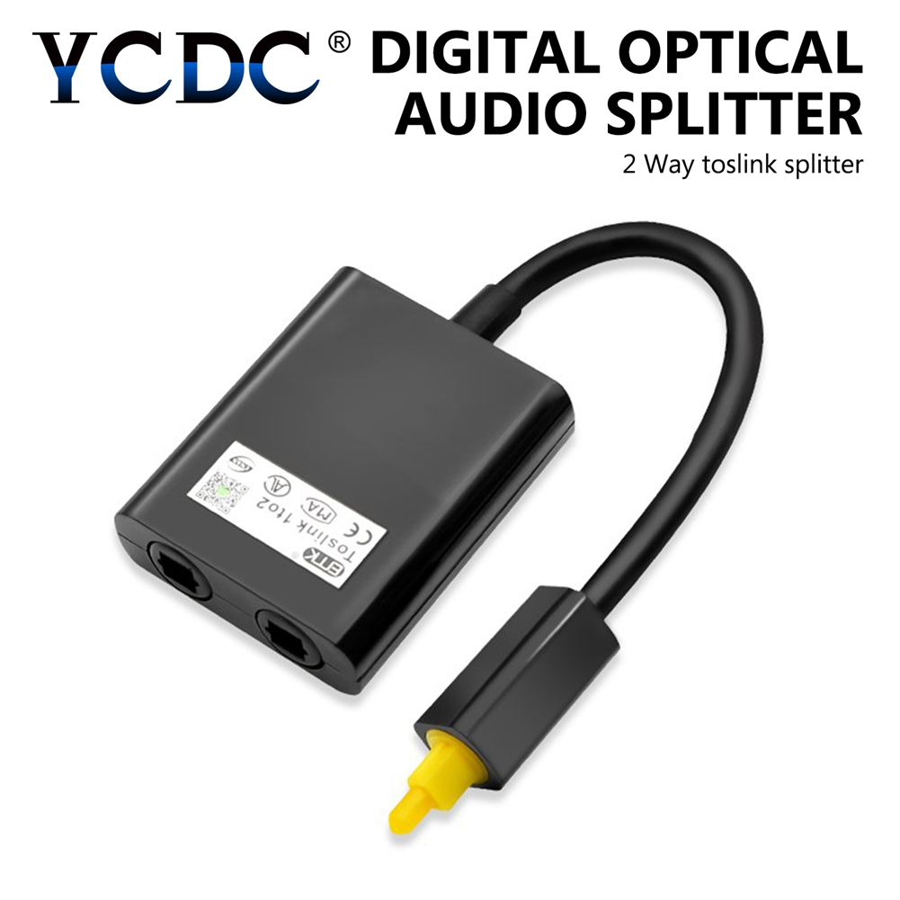YCDC 2 Color 1x2 Digital Toslink Optical Fiber Audio 1 to 2 Female Splitter Adapter for CD DVD Player white black High Quality