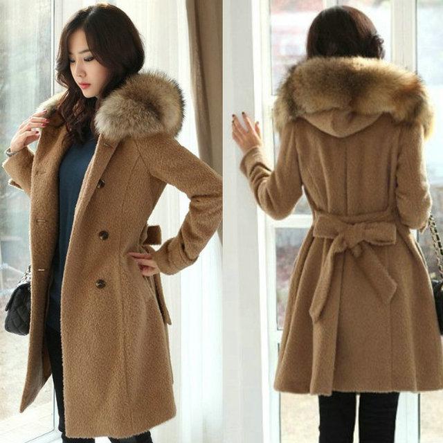 Manteau long laine capuche femme