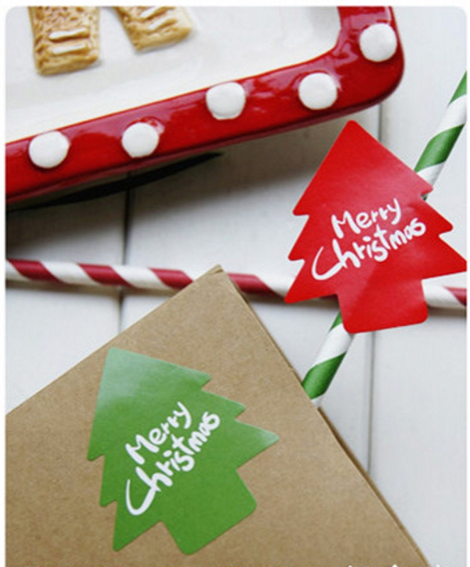 80Pcs 2019 Hot Sale Merry Christmas Tree Red Green Seal Sealing Label Kraft Sticker Baking DIY Work Gift Stickers M1005