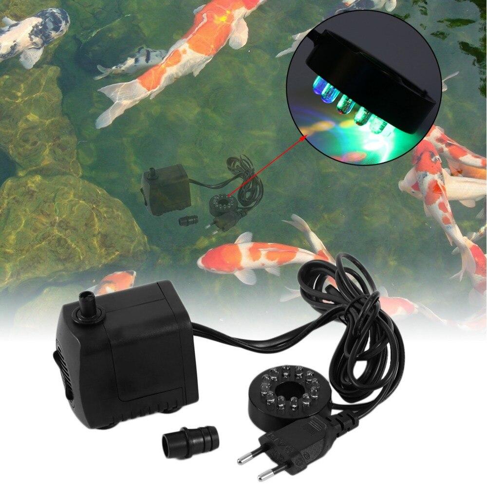 15W AC 220 240V 12 LED Submersible Water Pump For Aquarium Fountain Fish Tank Pond Decoration Led Light Water Pump in LED Underwater Lights from Lights Lighting