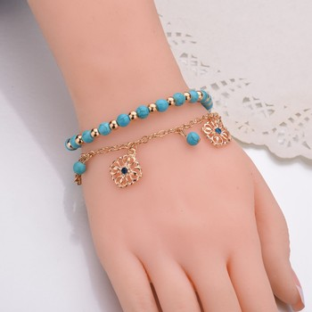 Halhal Simple Turquoises Anklets for Women Fashion Barefoot Sandals Chain Ankle Bracelets on the Leg Feet Jewelry Children Gift 5
