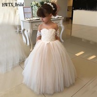 Long Sleeve Ball Gown Flower Girl Dresses For Weddings Lace Tulle Illusion Jewel Neck Puffy 2018 Birthday First Communion Dress