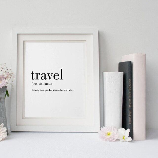 Reise Definition Zitieren Leinwand Malerei Minimalistischen Schwarz Weiß  Wort Plakat Druck Nordic Wandkunst Bild Wohnzimmer