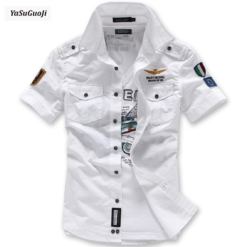 New 2019 Summer Fashion Brand Military Style Shirts Custom Air Embroidered Chapter Short-sleeve Shirt Men Chemise Homme /DCS6