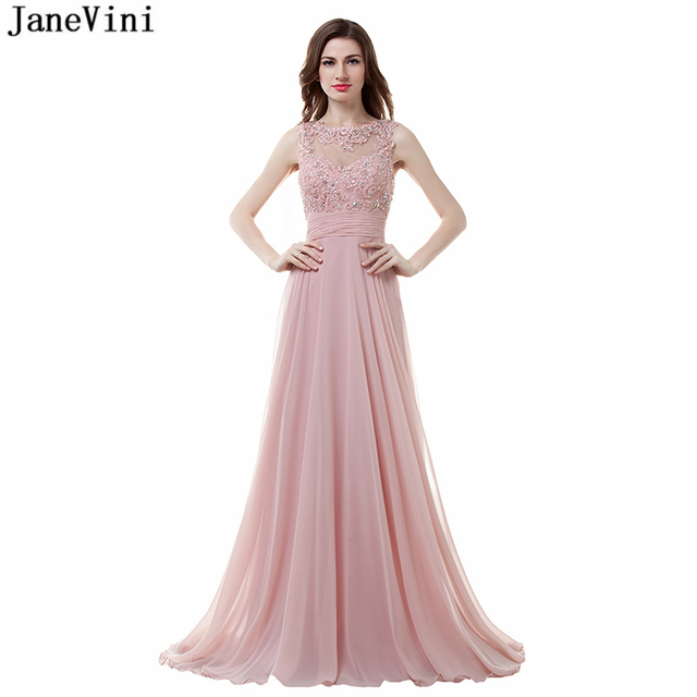3839e82bf0 JaneVini Elegant Blush Pink Chiffon Long Bridesmaid Dresses A Line  Appliques Beaded Backless Floor Length Women Prom Party Gowns