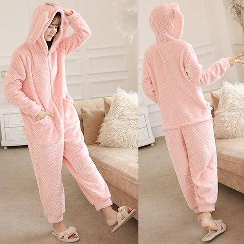 Flannel Pajamas Womens Winter Cartoon Korean Students Zippers Rabbit Elderly Adult Lovely Home Service Thicker Pajamas