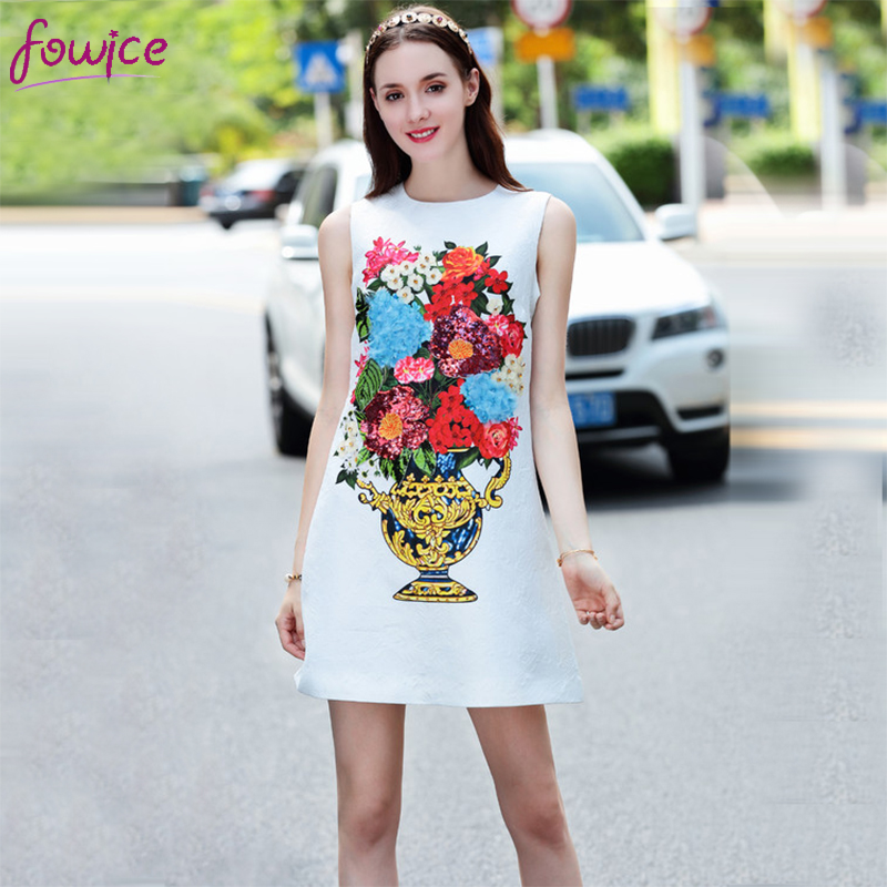 Buy Cheap Fowice 2017 Spring Summer Women Vase Print Flowers Beading Sequins Mini Tank Dress New Elegant Sleeveless White Cute Dress