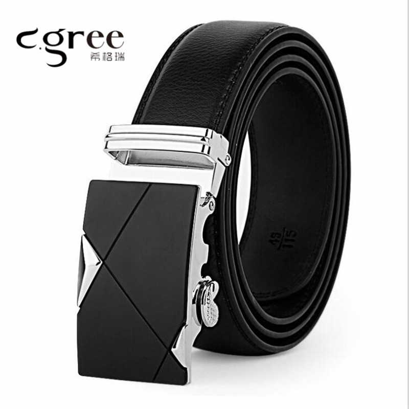 2018 Formal Business Genuine Leather Strap Male Belt Automatic Buckle Belts For Men Jeans Black Wide cinturon hombre