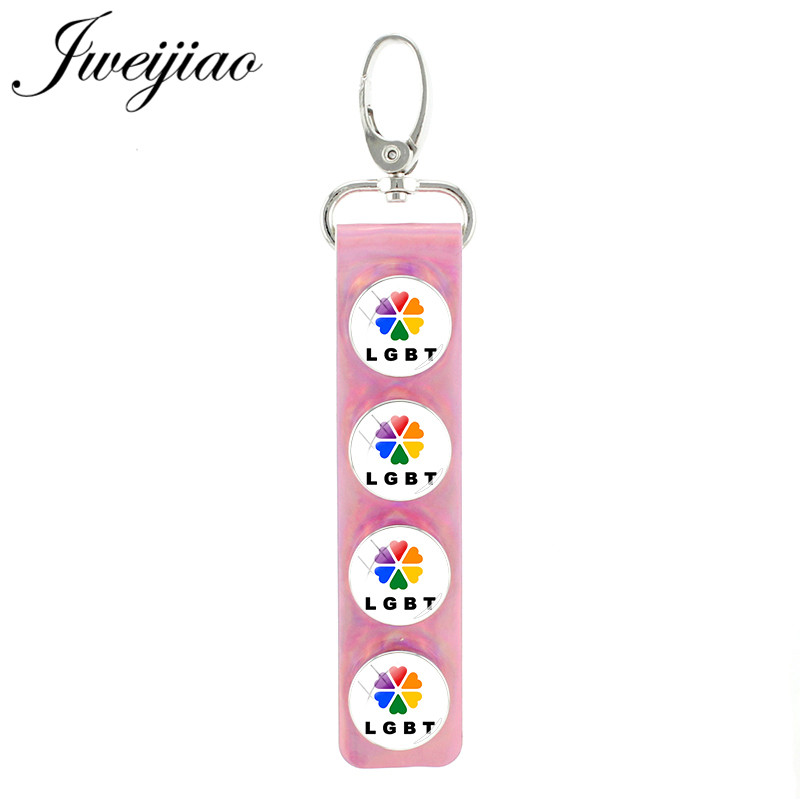 Jweijiao New Lgbt Glass Image Snap Button Keychain Pu Leather