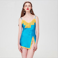 2019 YIGELILA New design top quality women silk nightgown sexy blue sleep dress with lace embroidery wellmade exclusive custom