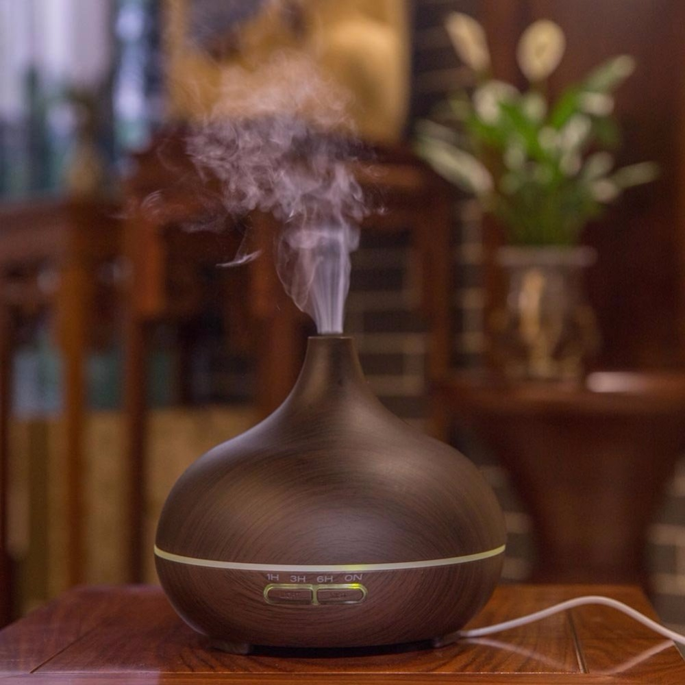 300ML Aroma Diffuser Ultrasonic Air Humidifier Wood Grain Mini Humidifier 7 Color Changing LED Lights for Office Home Spa Yoga Humidifiers     - title=