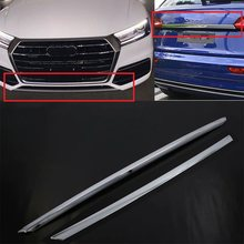 Car Styling For Audi Q5 FY 2018 2019 ABS Chrome Front Bumper Trim & Rear Tail Trunk Light Lamp Middle Strip Cover Molding(China)