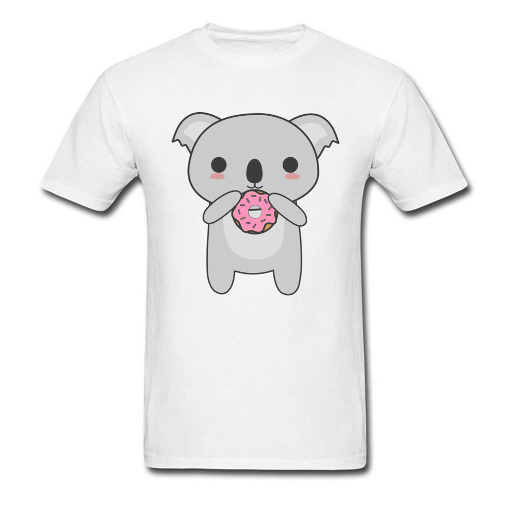 Tops Tees Sweatshirts Kawaii Koala Eating A Donut Summer/Autumn Short Sleeve Cotton Fabric Crew Neck Mens T-Shirt Comics New Kawaii Koala Eating A Donut white
