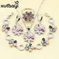 XUTAAYI 925 Sterling Silver Jewelry Set Flower Colorful Created Topaz Earrings Ring Necklace Pendant Bracelet Christmas Gift