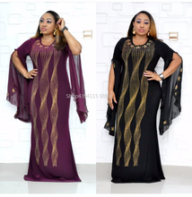 New style African Women clothing Dashiki fashion Hot drilling shiny elastic Fishtail gown long dress size L XL XXL(China)
