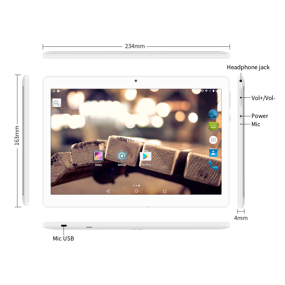 Yuntab 3g Tablet PC K17 Quad Core Android 5.1  Touch Screen Unlocked Smartphone With Dual Camera 0.3MP+2MP 5000Mha Battery