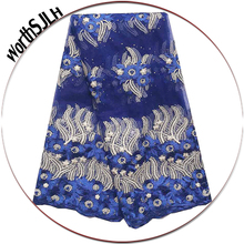 WorthSJLH African French Lace Fabric 2019 High Quality Royal Blue White Beaded Dubai Party For Dress