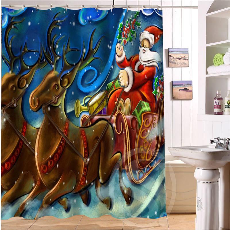 Free Shipping Merry Christmas, snowman, Santa Claus Custom Shower Curtain MORE SIZE Waterproof Fabric Shower Curtain SQ0520-M3